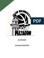 Memoria del primer trimestre de la temporada 2012-2013 del Club Baloncesto Mazagón