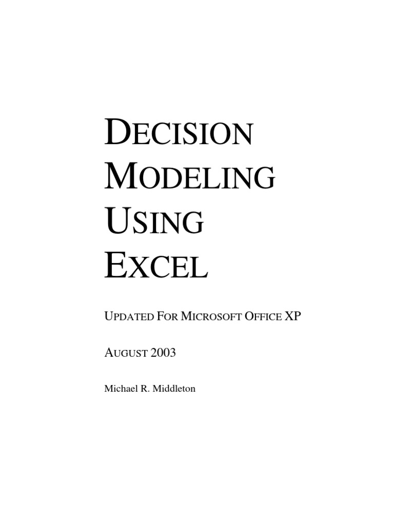 Decision Model Using Excel Sensitivity Analysis Microsoft Excel