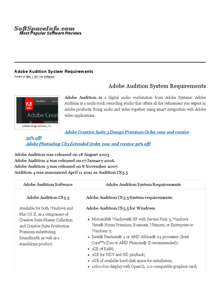 Adobe Audition System Requirements Adobe Creative Suite Microsoft Windows
