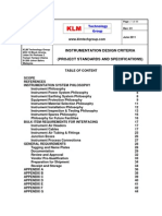 Project Standards and Specifications Offshore Instrumentation Criteria Rev01