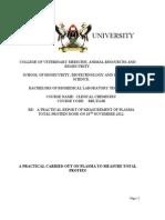 REPORT OF MEASUREMENT OF PLASMA TOTAL PROTEIN