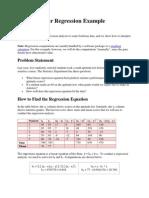 Calculations of regression equation