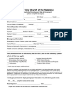 Youth Activity Permission Form