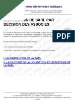 Dissolution de Sarl Par Decision Des Associes