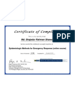 Certificate of Completion-Epidemiologic Methods for Emergency Response (Online Course)