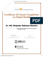 Certificate of Completion for Cervical Cancer Prevention (Low-Resource Settings)