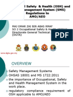 Occupational Safety  & Health (OSH) and Safety Management System (SMS) Regulations toAMO/AEO