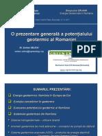 O Prezentare Generala a Potentialului Geotermic Al Romaniei