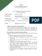 Operations Assistant - NE 12-27-2012