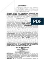 Plan de Arbitrios 2012