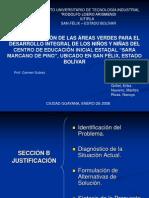 PRESENTACION DE PROYECTO DE GRADO RECUPERACION DE AREAS VERDES