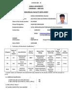 Anna University Individual Faculty Profile Data Sheet