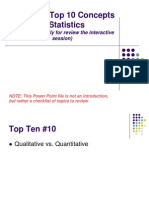 Top 10 concepts of Statistics