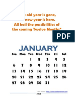 2013 Printable Yearly Quotes Calendar