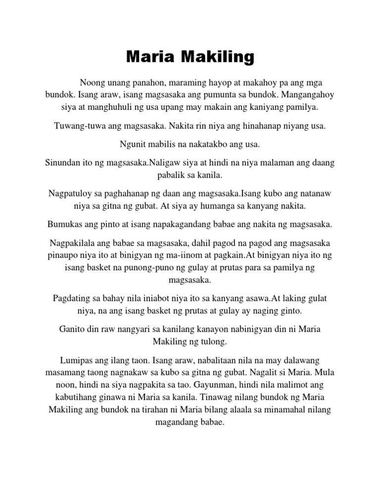 maria makiling by rizal Maria makiling title maria makiling description protector of mt makiling gender female region philippines equivalent diwata maria makiling, sometimes spelled mariang makiling, in philippine mythology, is a diwata.