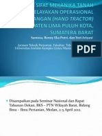 Studi Mekanika Tanah untuk Kelayakan Operasional Traktor Tangan (Hand Tractor) di Kabupaten Lima Puluh Kota Sumatera Barat