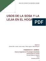 USOS DE LA SOSA Y LA LEJIA EN EL HOGAR