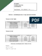 DETERMINAÇÃO DE Ca2  E Mg2  EM ÁGUAS NATURAIS