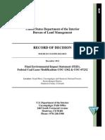 West Elk Coal Lease Modifications - BLM Record of Decision