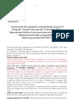 Sommatino, Consiglio comunale 27/12/2012 - Intervento del Cons. PSI Burgio - Bilancio di Previsione 2012