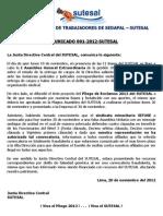 Comunicado Nº 001-2012 SUTESAL