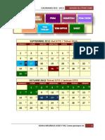 Calendario 2012 - 2013 Hebreo