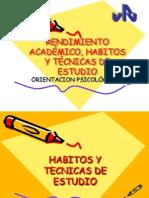 Rendimiento academico habitos y tecnicas de estudio