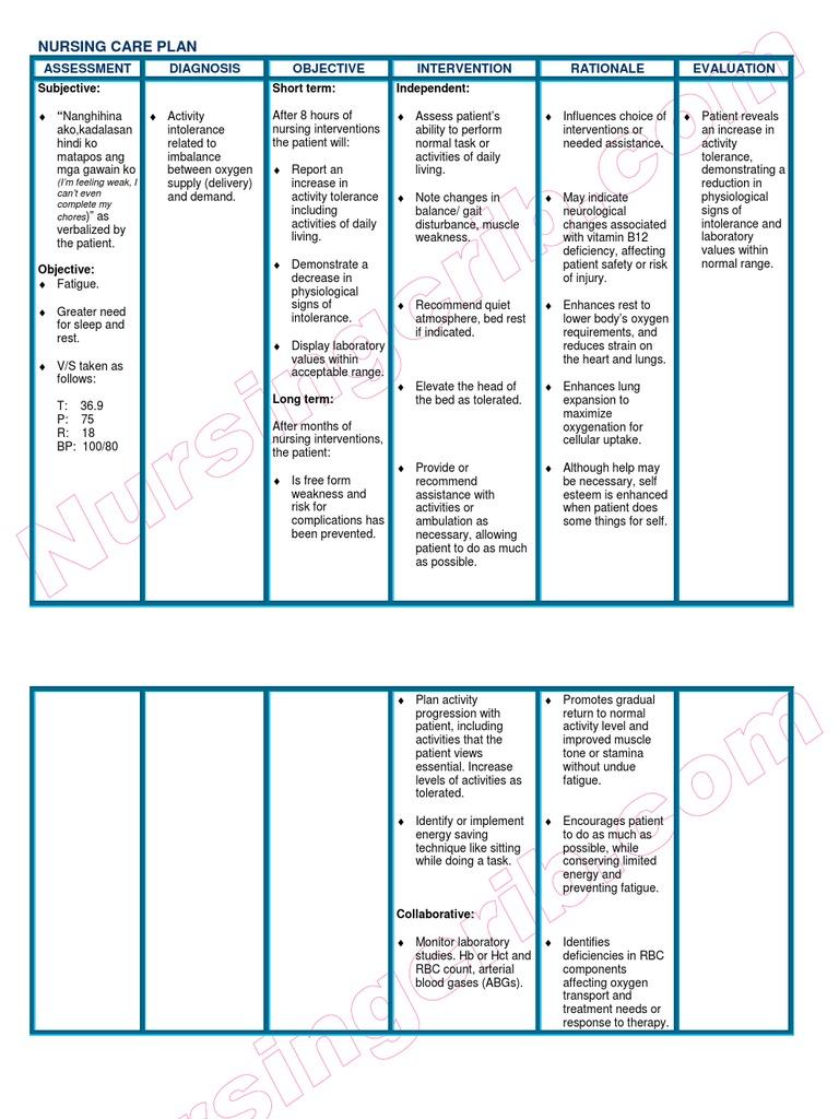 NursingCrib.com Nursing Care Plan Anemia