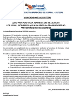 Comunicado Nº 005-2012 SUTESAL