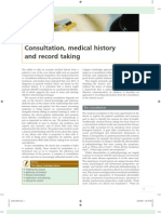Consultation, medical history and record taking