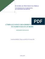 Implantations usines indiennes et chinoises en Europe 2009