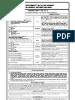 Admission Notice MSc Mphil PhD AJK University