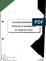 Accord RTT -Réduction et aménagement du temps de travail -25/10/200