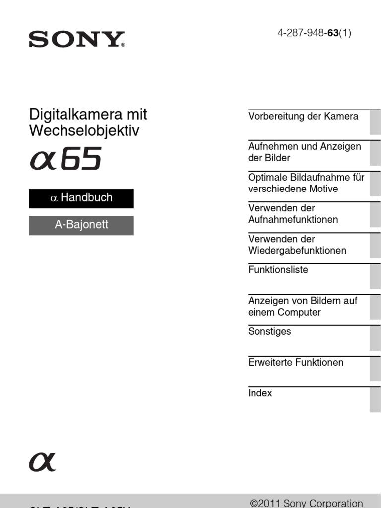 Sony SLT a65 Handbuch deutsch