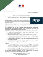 12.29 Communiqué de presse du Premier ministre - Décisions du Conseil constitutionnel