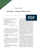 Modernidad y cosificación- Simmel y Schütz