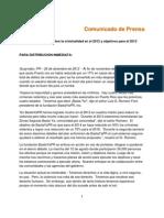 Comunicado de Prensa Plan Para El 2013 BastaYaPR