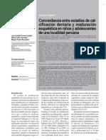 CONCORDANCIA ENTRE ESTADÍOS DE CALCIFICACIÓN DENTARIA Y MADURACIÓN ESQUELÉTICA EN NIÑOS Y ADOLESCENTES DE UNA LOCALIDAD PERUANA