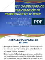 ADVOCACY Y COMUNICACIÓN EN LA PLANIFICACIÓN DE LA PROMOCION DE LA SALUD