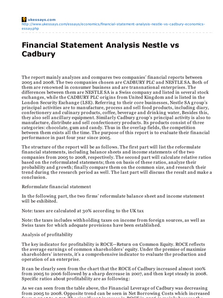 Ukessayscomfinancial Statement Analysis Nestle Vs Cadbury  Ukessayscomfinancial Statement Analysis Nestle Vs Cadbury  Deferred Tax   Financial Accounting English Example Essay also Health Essays  Narrative Essay Topics For High School