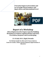 Report of a Workshop Africa Region Security Organs Capacity Building Workshop on Violence Against Women and Girls
