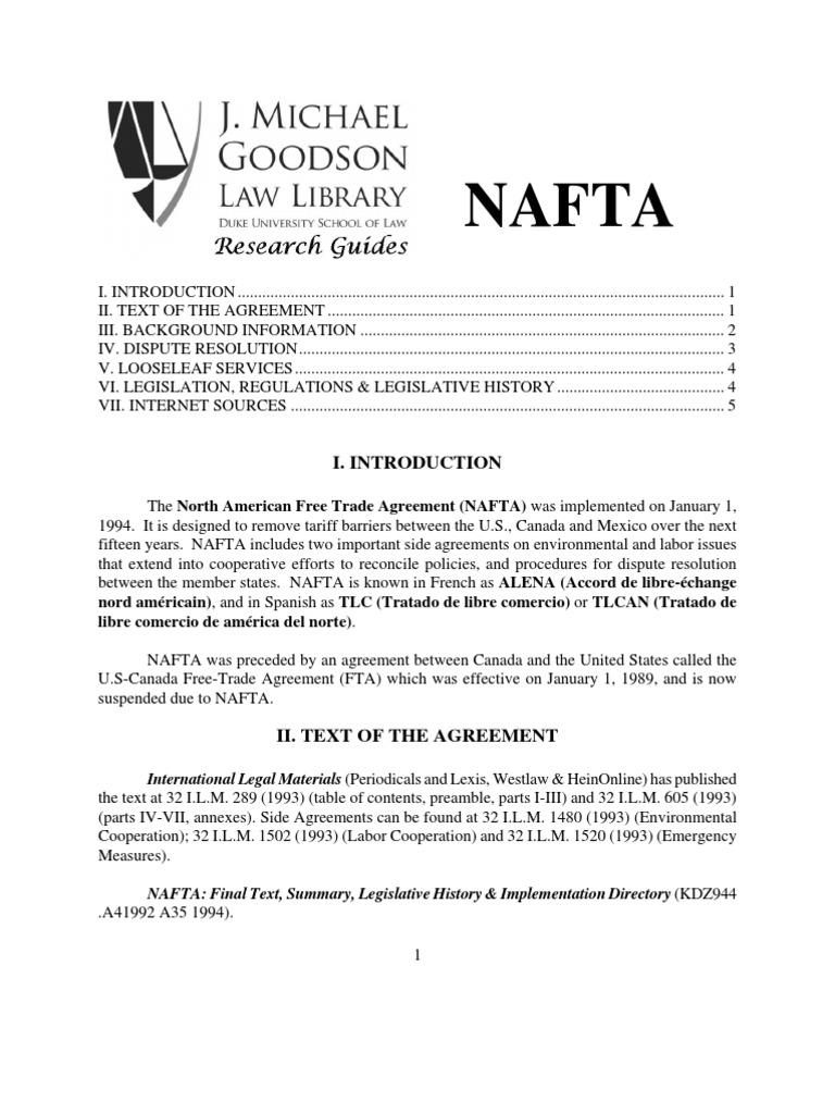 Nafta North American Free Trade Agreement Free Trade
