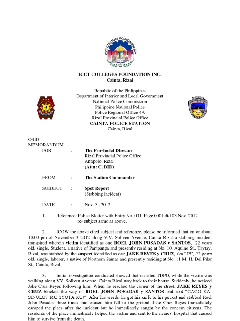 Police Report Philippines – Sample Homicide Police Report