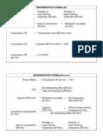 Refrigeration formulas