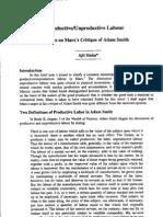 productive and unproductive labour a note on Marx critique of Smith