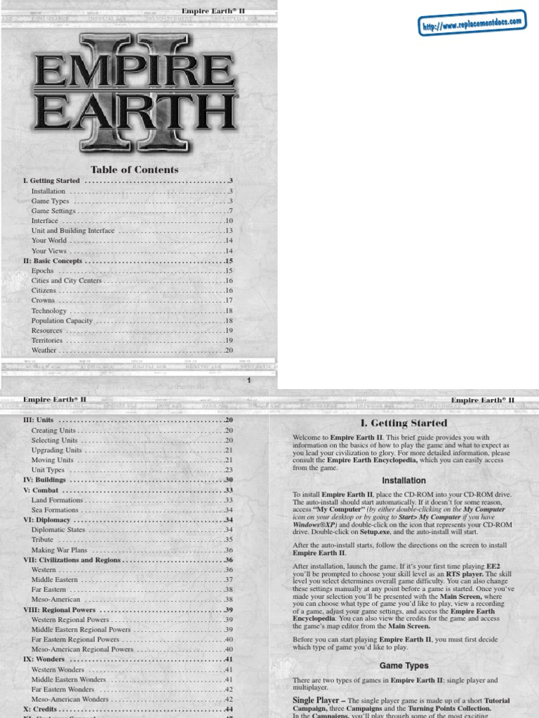 Empire Earth II -Guide Instructional book | Artillery | Infantry
