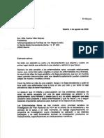 Respuesta del Ministro de Sanidad Bernat Soria, a la petición de acreditación de centros de referencia