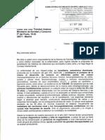 Carta a la Ministra de Sanidad Trinidad Jiménez, año 2010