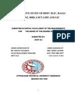 COMPARATIVE STUDY OF HDFC SLIC, BAJAJ ALLIANZ, BIRLA SUN LIFE AND LIC
