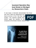 Hip Replacement Operation May Bring About Stroke in Old-Aged Patients, Researchers Claim